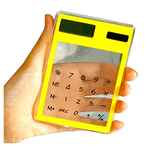 SODIAL(R) Transparent Calculator Clear Scientific Calculator Solar Energy Led Clear Calculator Creative Stationery Yellow