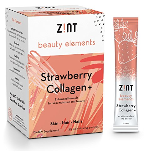 Strawberry Hydrolyzed Collagen Powder Packets : Anti Aging Sugar Free Beauty Collagen Peptides Drink w/ Glucosamine, Hyaluronic Acid, Vitamin C, Acai Extract (30 5g Packets) (Stick Moisture Vitamin Plus E)