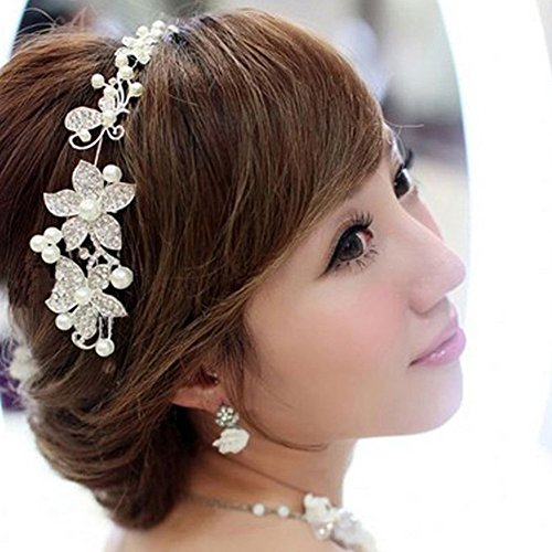 Ladies Silver Rhinestone Bridal Wedding Flower Pearls Headband Hair Clip Comb (Sliver)
