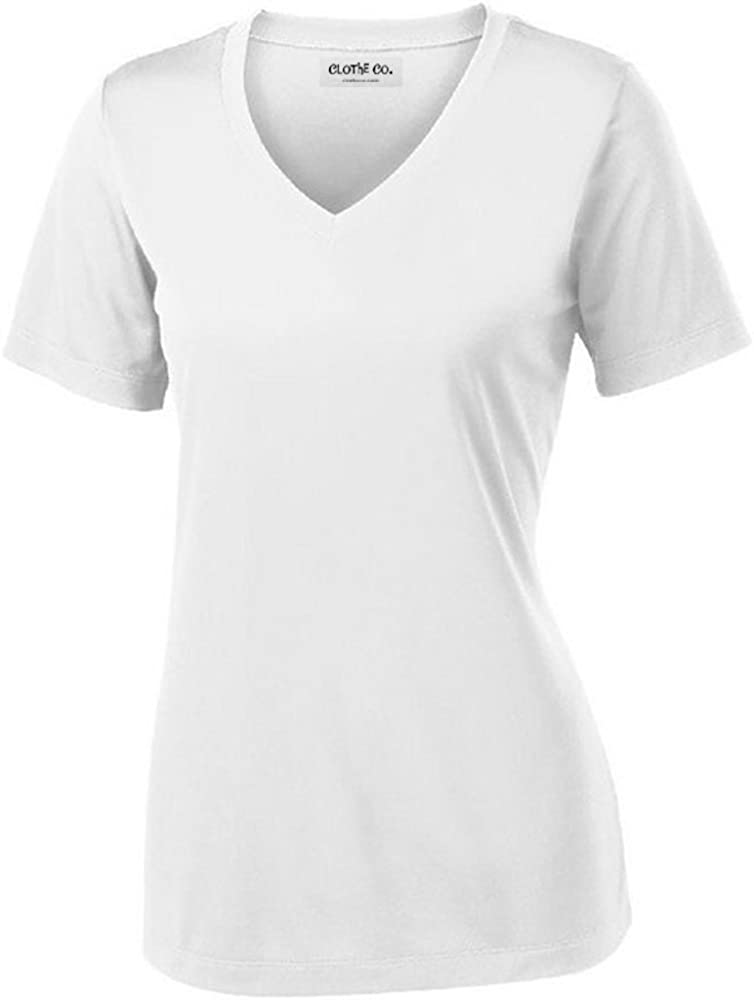 Clothe Co. Ladies Short Sleeve V-Neck Moisture Wicking Athletic Shirt