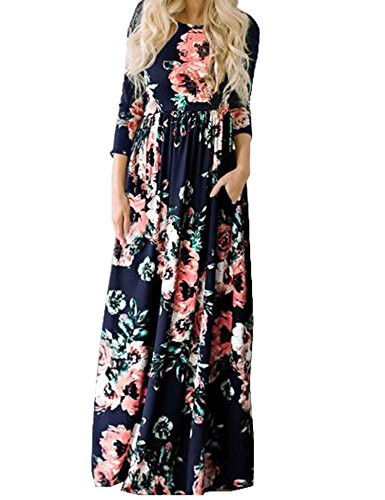 Murimia Women's Floral Print 3/4 Sleeve Empire Flower Maxi Casual Dress With Pocketed, Navy Blue, Medium