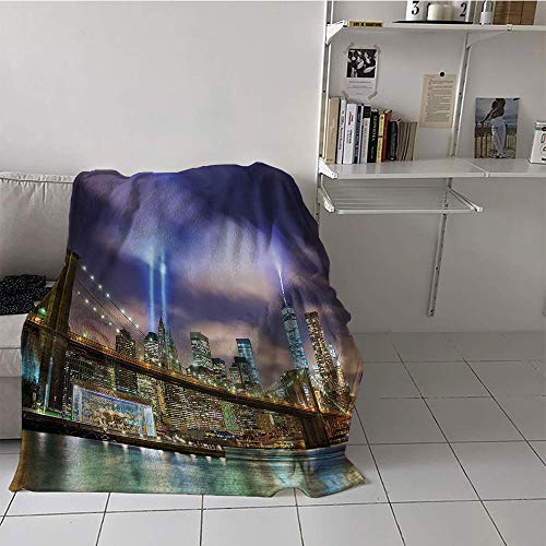 Khaki home Children's Blanket Party Lightweight Thermal Blankets (35 by 60 Inch,Apartment Decor,Manhattan Skyline with Brooklyn Bridge and The Towers of Lights in New York City,Puple Green