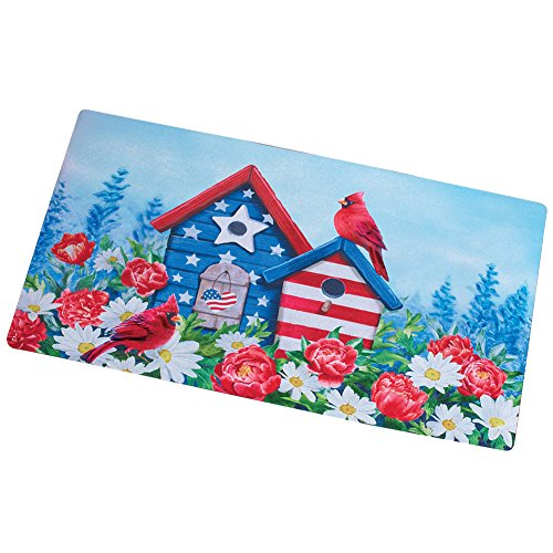 Collections Etc Americana Cardinal Birdhouse Front Door Summer Welcome Mat July 4th Outdoor Decoration