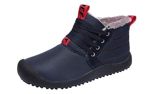 YOOEEN Hombre Botas de Nieve Invierno Botines Impermeables Cómodas Fur Calentar Botas Al Aire Libre Boots Zapatos de Senderismo y Trekking: Amazon.es: ...