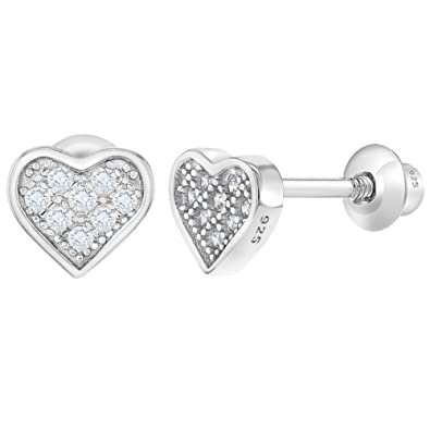 aab2647fb 925 Sterling Silver CZ Pave Small Heart Screw Back Earrings for Girls:  Amazon.co.uk: Jewellery