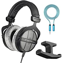 Beyerdynamic DT 990 PRO 250 Ohm Open Studio Headphones -INCLUDES- Blucoil Audio 6-Feet 3.5mm Extension Cable AND Stick-On Under Desk Dual Headphone Stand Mount