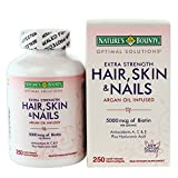 Helps support lustrous hair. - Nature's Bounty Hair Skin and Nails 5000 mcg of Biotin per Serving - 250 Coated Tablets
