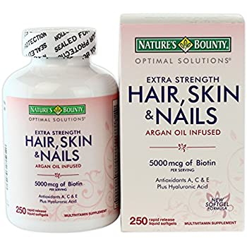 Amazon.com: Helps support lustrous hair - Nature\' s Bounty Hair Skin ...