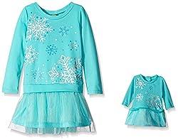 Dollie & Me Little Girls' Sweater Knit Drop Waist Holofoil Mesh Dress, Blue, 6