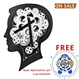 Cheap SevenUp Large Decorative Wall Clock Silent Non Ticking,12.2″ x 8.7″, Premium Plastic and Metal Brain Artworks, Black Gear Clocks Wall Decoration for Living Room Bedroom