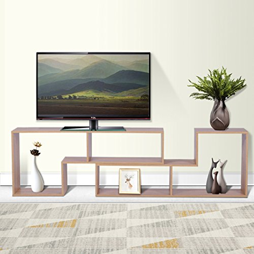 DEVAISE TV Stand / 2 Pieces Bookcase / Bookshelf (A-Oak)