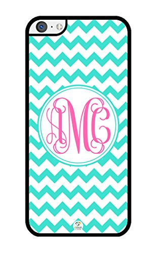 iZERCASE Monogram Personalized Turquoise Chevron with Pink Initials Pattern iPhone 5C Case - Fits iPhone 5C T-Mobile, AT&T, Sprint, Verizon and International (Black)