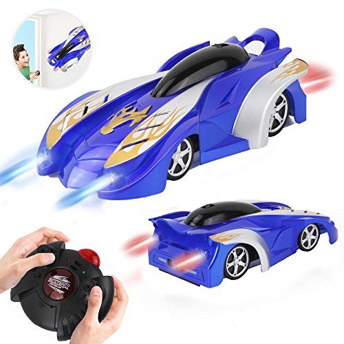 WISHTIME Remote Control Car – Wall Climbing RC Car Defy Gravity Stunt Car Dual Mode 360 Degrees Rotating Vehicle Toy with LED Lights for Kids Toddlers Boy and Girl(Blue)