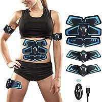 EGEYI Electroestimulador Muscular Abdominales Cinturón,Masajeador Eléctrico Cinturón con USB,EMS Ejercitador del Cuerpo de los Músculos de Brazos y piernas para Hombre Mujer (1)