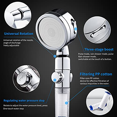 Shower Head, Aniston Upgraded Adjustable Pressure Ion Shower Head, 3 Modes of Adjustable Filter Shower Head for Hard Water Low Water Pressure, Comes with a Replaceable PP Cotton Filter Element