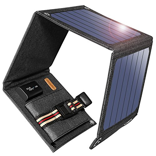 Solar Energy Cell - Suaoki 14W Solar Charger Portable Foldable with High Efficiency SunPower Solar Panels for iPhone 8 / 7S / Plus, Galaxy S8 / S7 / Edge/Plus, Note 8, LG, Nexus, Pixel and Other 5V USB Devices