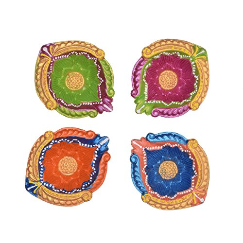 Set of 4 Handmade Decorative Diwali Clay Diyas By Store Indya Earthen Terracotta Multicolor Oil Lamps With Rhinestone (Jewel For - Terrace Stores Clay
