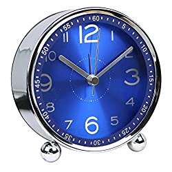 Mysee 4 Creative Cute Small Simple Metal Alarm Clocks Blue