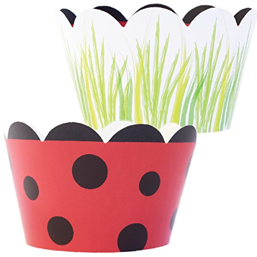 Ladybug Party Decorations, Easter Grass Spring Cupcake Wrappers, Reversible Red and Black Polka Dot, Confetti Couture Party Supplies, 36 Wraps