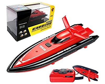 POCO DIVO 2.4Ghz Mini RC Racing Boat Pool Tracer Bathtub Yacht Toy Motor Ship - Red