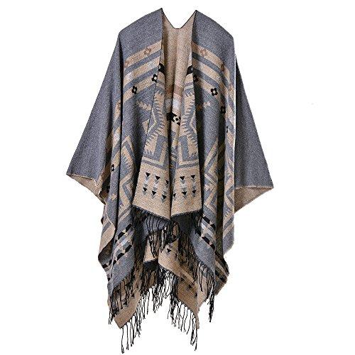 Lady Shawl, Cross Plum Scarf, Wool Fringed Shawl, Wool wrap Shaw, Winter Poncho Cape,Oversized Blanket Scarves,Long Cardigan Sweaters,Accessories ()