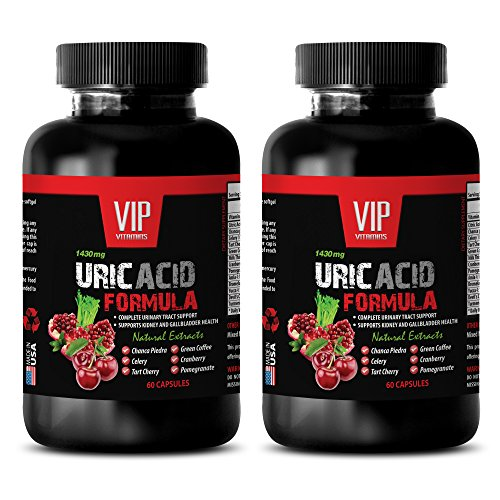 Uric acid flush - URIC ACID FOMULA NATURAL EXTRACT 1430Mg - Astragalus, Birch Leaves, Buchu Leaves, Goldenrod - 2 Bottles 120 Capsules (Birch Flush)