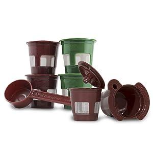K2V-Cup Adapter Plus 5 Reusable K-Cup Coffee Pod Filters & Coffee Scoop Bundle for Keurig VUE Coffee Maker