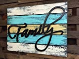 """FAMILY Wall Decor Pallet Style Sign 32"""" X 24"""" Distressed Wood Reclaimed Large XL 5 Panel Rustic Country Aqua Blue Yellow Red Green Yellow Tan Cream"""