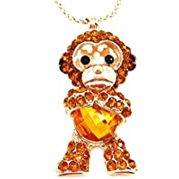 QTMY Yellow Crystal diamond Monkey Statement Choker Long gold Necklace Jewelry with Pendant for Women teen girls