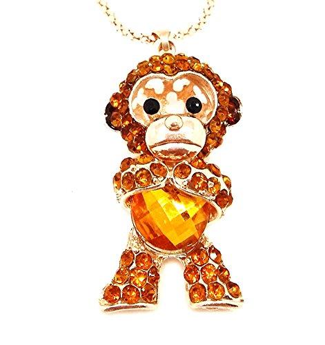 QTMY Yellow Crystal diamond Monkey Statement Choker Long gold Necklace Jewelry with Pendant for Women teen girls - Crystal Monkey
