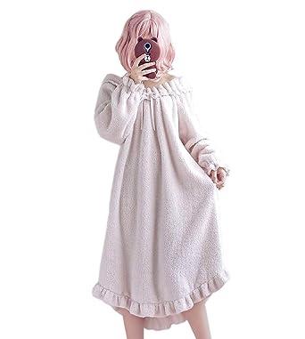Auf Abstand exquisites Design beste Qualität Himifashion Damen Nachthemd Kawaii weichen warmen Nachthemd Frauen Herbst -  Winter
