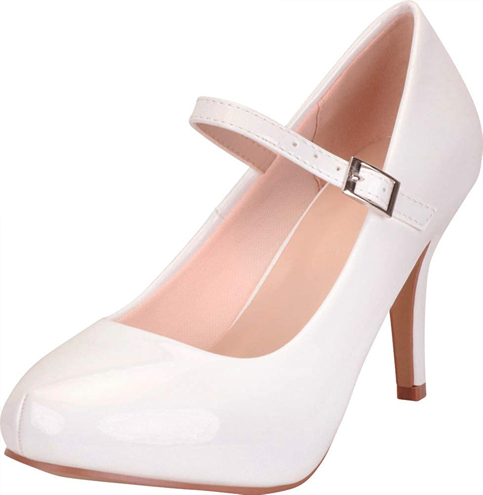 White Patent Pu Cambridge Select Women's Mary Jane Hidden Platform Stiletto High Heel Pump