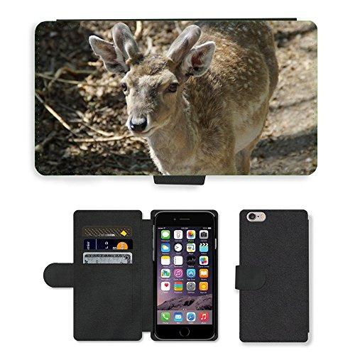 "Just Phone Cases PU Leather Flip Custodia Protettiva Case Cover per // M00129159 Daim Animal mâle Animal World // Apple iPhone 6 PLUS 5.5"""