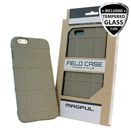 iPhone 6s Plus Case, iPhone 6 Plus Case, Magpul [Field] Polymer Case Cover MAG485 Retail Packaging for Apple iPhone 6 Plus/6S Plus 5.5 inch + TJS Tempered Glass Screen Protector (Flat Dark Earth)