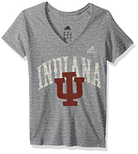 NCAA Indiana Hoosiers Adult Women Vintage Vault Arch Tri-Blend V-Neck S/Tee, Medium, Dark Grey Heathered