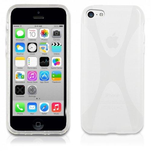 eFabrik Case für Apple iPhone 5C Hülle Tasche Cover Smartphone X-Line aus TPU Silikon in Weiss transprarent
