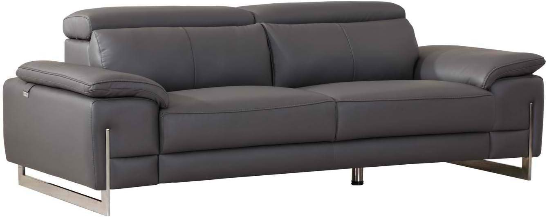Blackjack Furniture, 636 Ellison Collection Top Grain Italian Leather Living Room Sofa Dark Gray