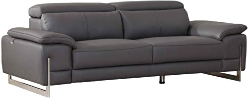 Blackjack Furniture, 636 Ellison Collection Top Grain Italian Leather Living Room Sofa Dark Gray