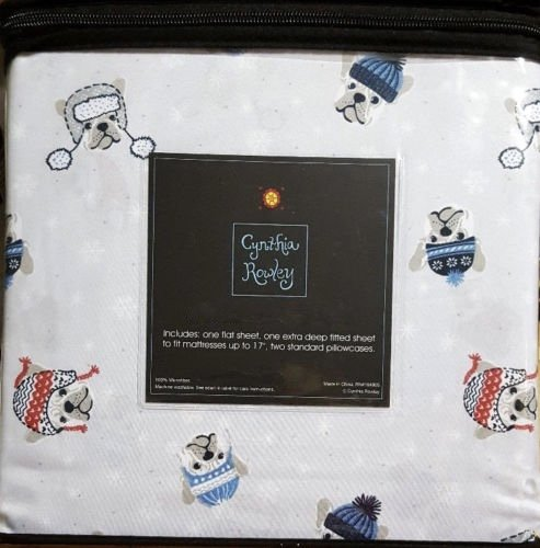 DOGS in HATS TWIN Size SHEET SET - cynthia rowley WINTER DEC