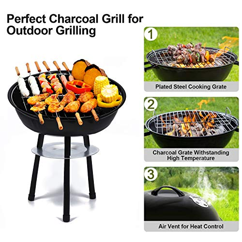 (WSTECHCO 14 Inch BBQ Grill Charcoal Portable Barbecue Grilling Lightweight for Picnics, Backyard, Party, Camp, Lake Outdoor Cooking)