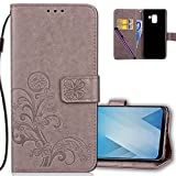 Samsung A8 2019 Wallet Case Leather COTDINFORCA Premium PU Embossed Design Magnetic Closure Protective Cover with Card Slots for Samsung Galaxy A8 2019 SM-A530 (5.6 inch). Luck Clover Grey