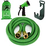 Expanding Garden Hose - 50 Foot Green - Extra Strength Stretch Material with Brass Connectors - Bonus 8 Way Spray Nozzle, Carrying Bag and Hanger - by Joeys Garden