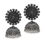 Royal Bling Tribal Muse Collection Oxidized Silver Stylish Jhumka/Jhumki Jewellery Earrings
