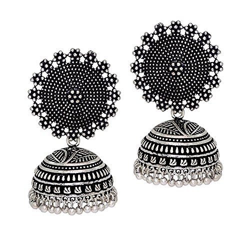 Oxidized Silver Jewellery - Royal Bling Tribal Muse Collection Oxidized Silver Stylish Indian Jewelry Jhumka Earrings for Women