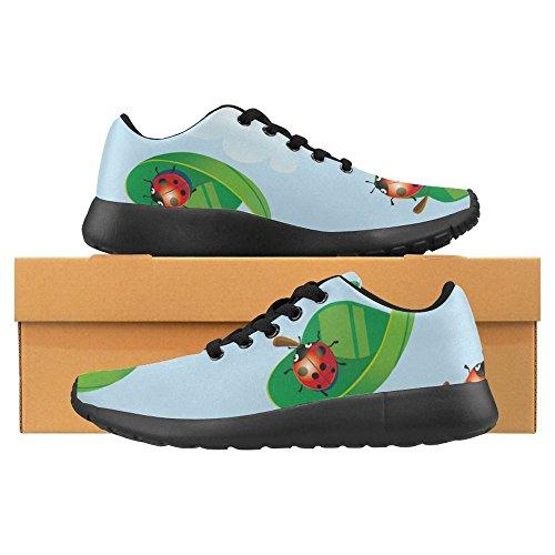 Interestprint Femmes Jogging Running Sneaker Léger Aller Facile À Pied Casual Confort Sport Chaussures De Course Coccinelle Voler Sur Feuille Multi 1