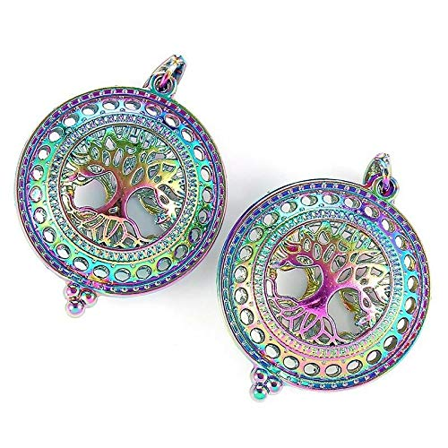 - 2Pcs Rainbow Color 3D Round Life Tree Pearl Beads Cage Pendant DIY Jewelry Craft