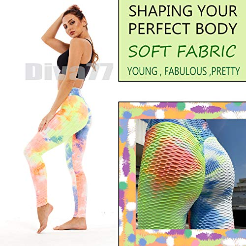 Diva77 Women's High Waist Yoga Pants Sexy Butt Lifting Stretchy Leggings Workout Running Slimming Booty Tights Orange Blue