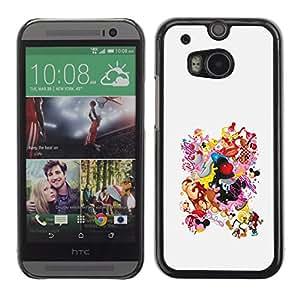 KOKO CASE / HTC One M8 / tetas sonrientes dibujo cuerpo de la mujer culo / Delgado Negro Plástico caso cubierta Shell Armor Funda Case Cover
