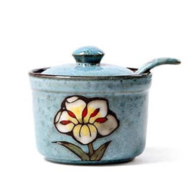 Ceramics Retro Flower Sugar Bowl with Lid and Spoon 5.5 Ounces Blue