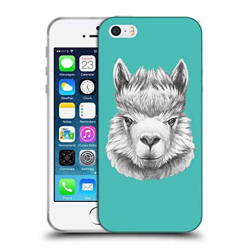 GoGoMobile Coque de Protection TPU Silicone Case pour // Q05380634 Portrait lama Turquoise // Apple iPhone 5 5S 5G SE